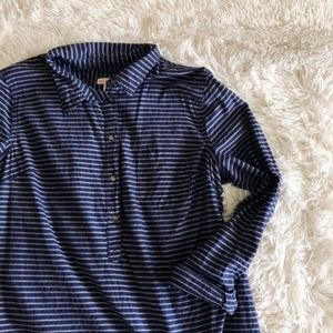 MERONA blue striped 1/2button down tunic